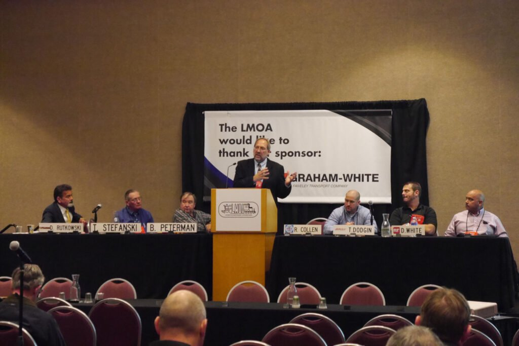 Roger Collen presents wheel truing paper to LMOA