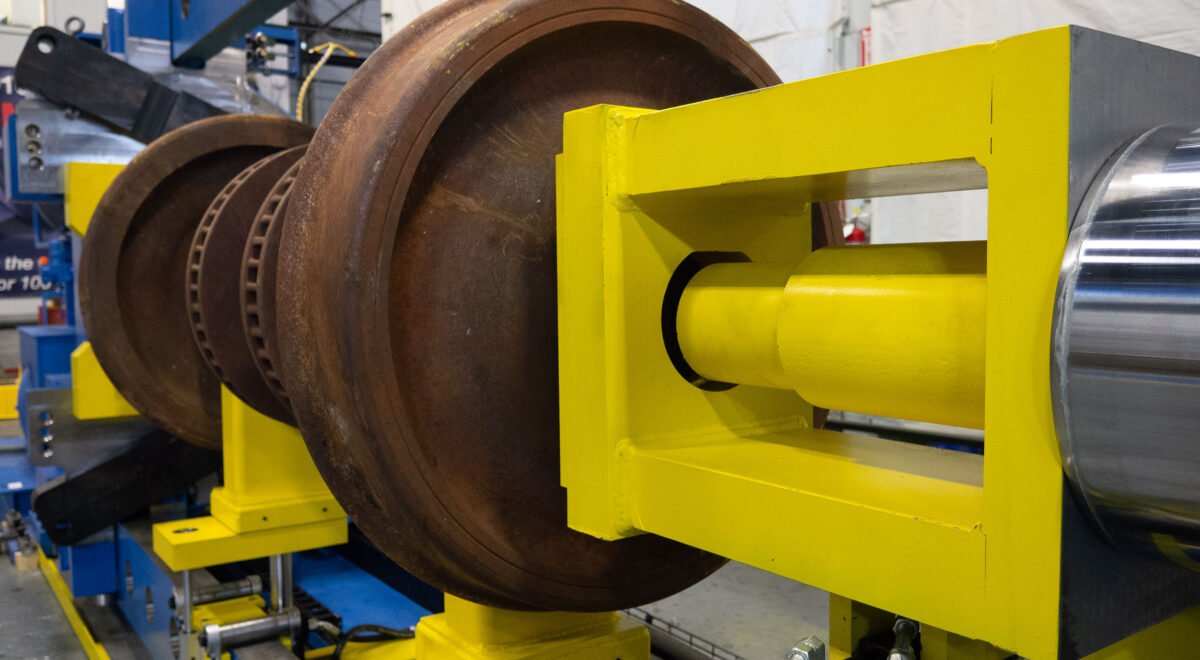 Wheel press for railway wheel sets